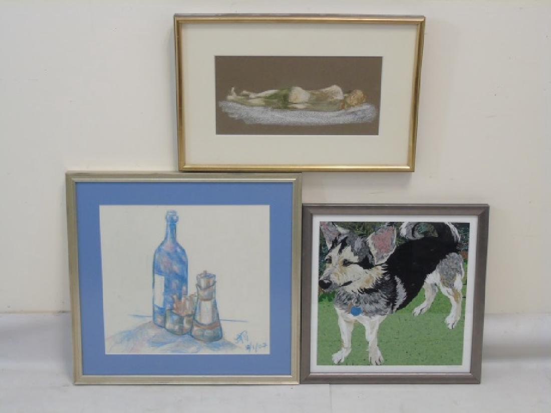 6 Art Pieces-Painted, Charcoal Sketch & Watercolor - 3