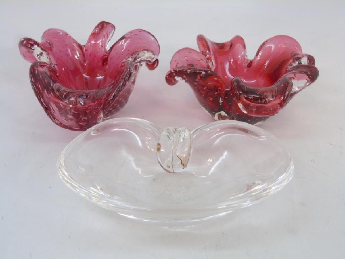Trio of Steuben & Murano Rose Glass Pieces