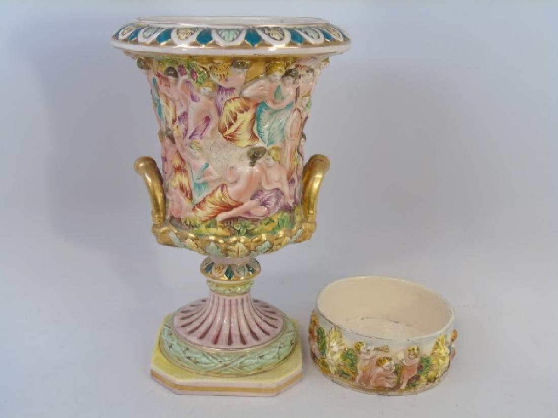 Vintage Capo di Monte Urn & Bowl with Cherubs