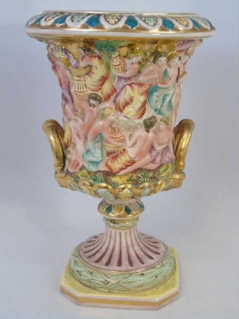 Vintage Capo di Monte Urn & Bowl with Cherubs - 4