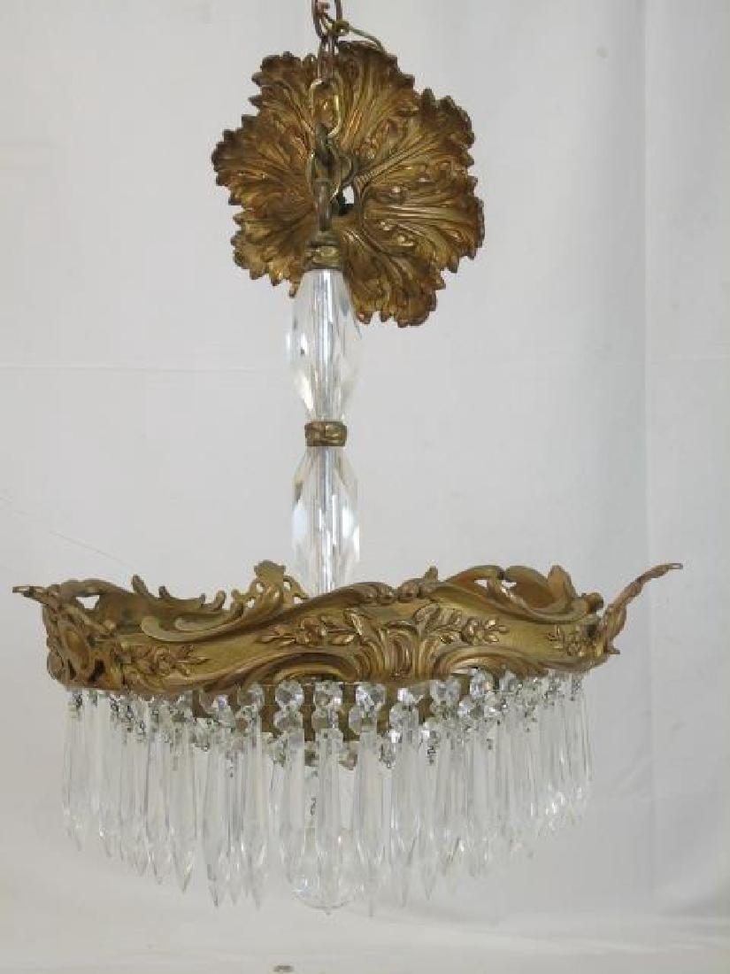Bronze & Crystal Drop Tiered Chandelier