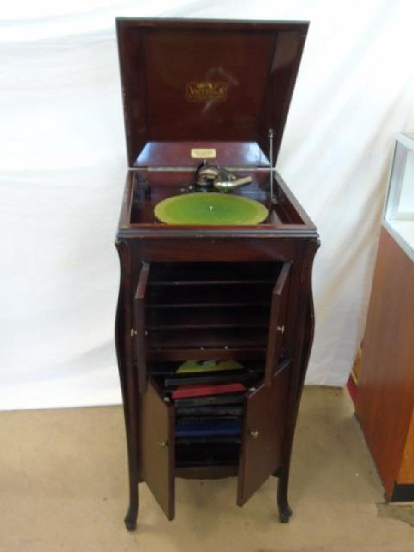 1920 Victor Talking Machine with Record Collection - 4