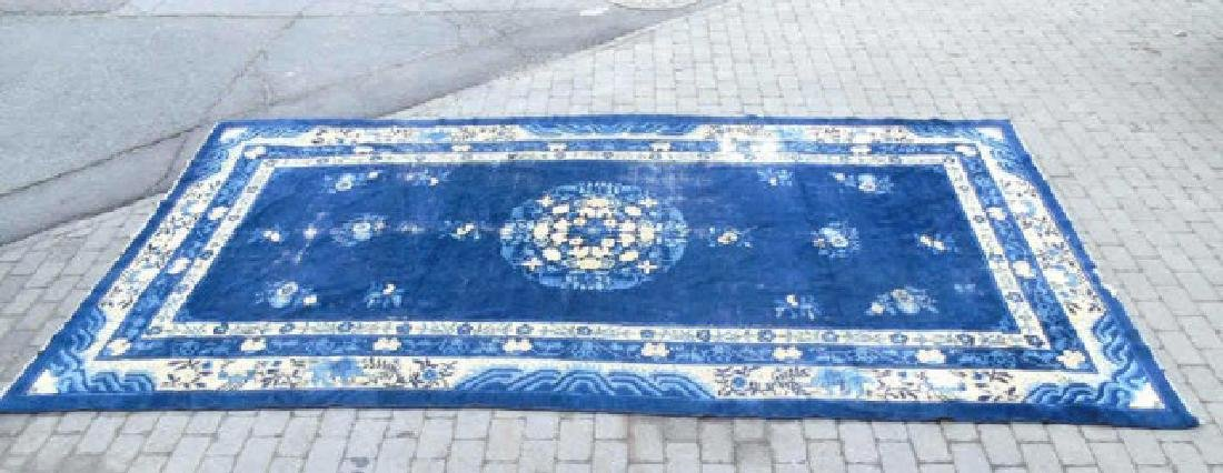 Chinese Art Deco Rug, Shades of Blues & Cream