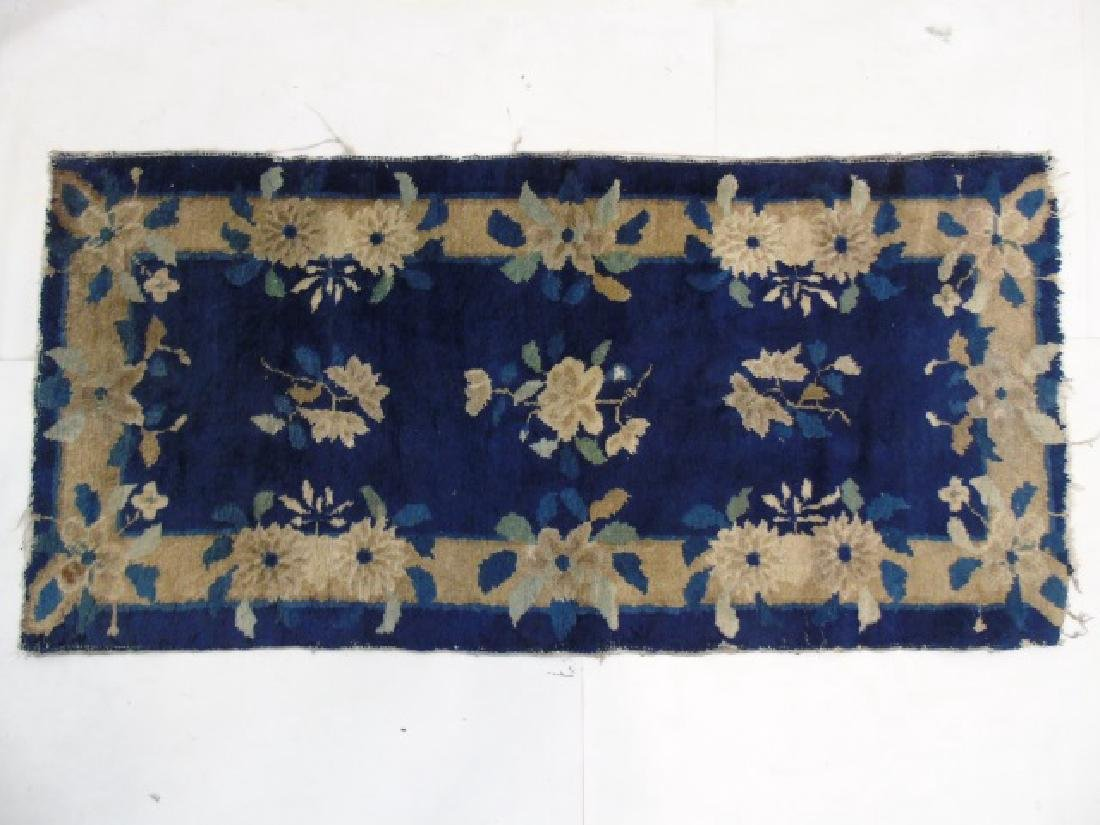 Chinese Art Deco Small Blue & Cream Rug