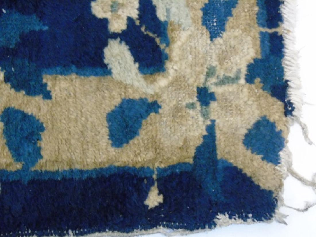 Chinese Art Deco Small Blue & Cream Rug - 3