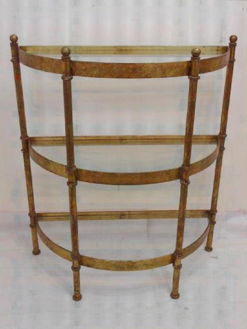 3 Level Demi-Lune Gold Painted Server Glass Shelve