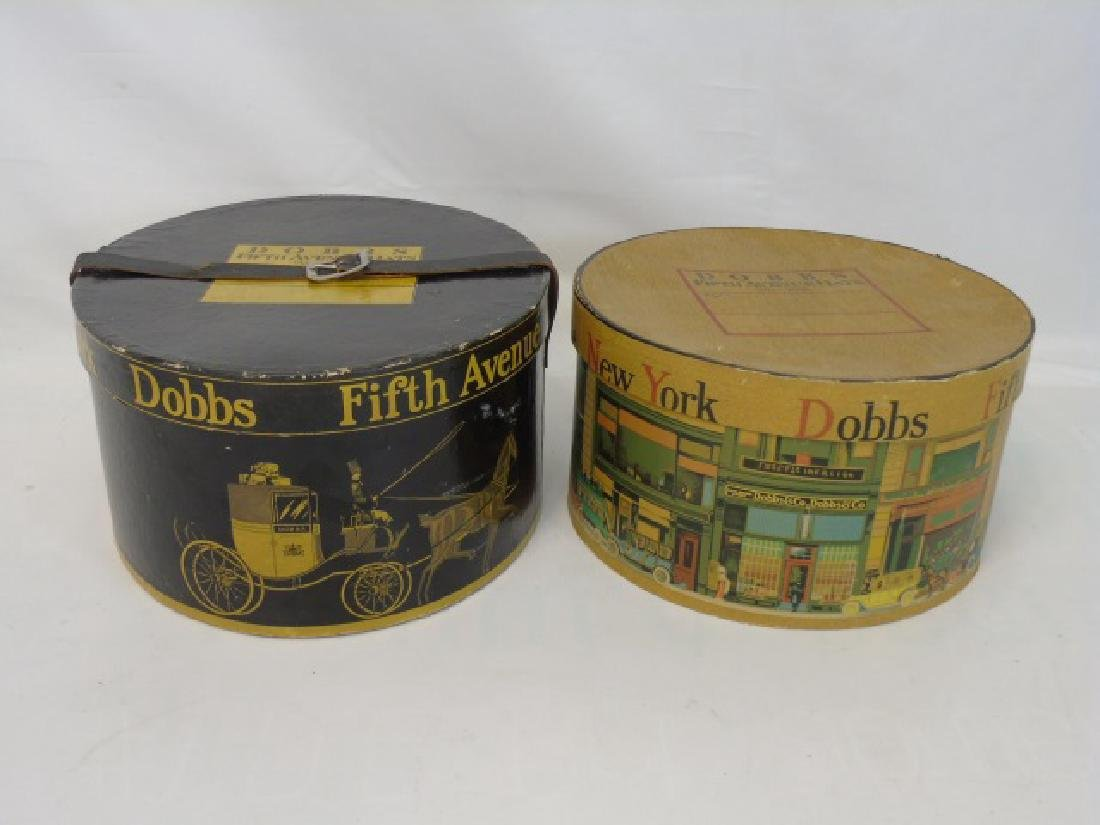 2 Antique Lithographed Cardboard Hat Boxes Dodds