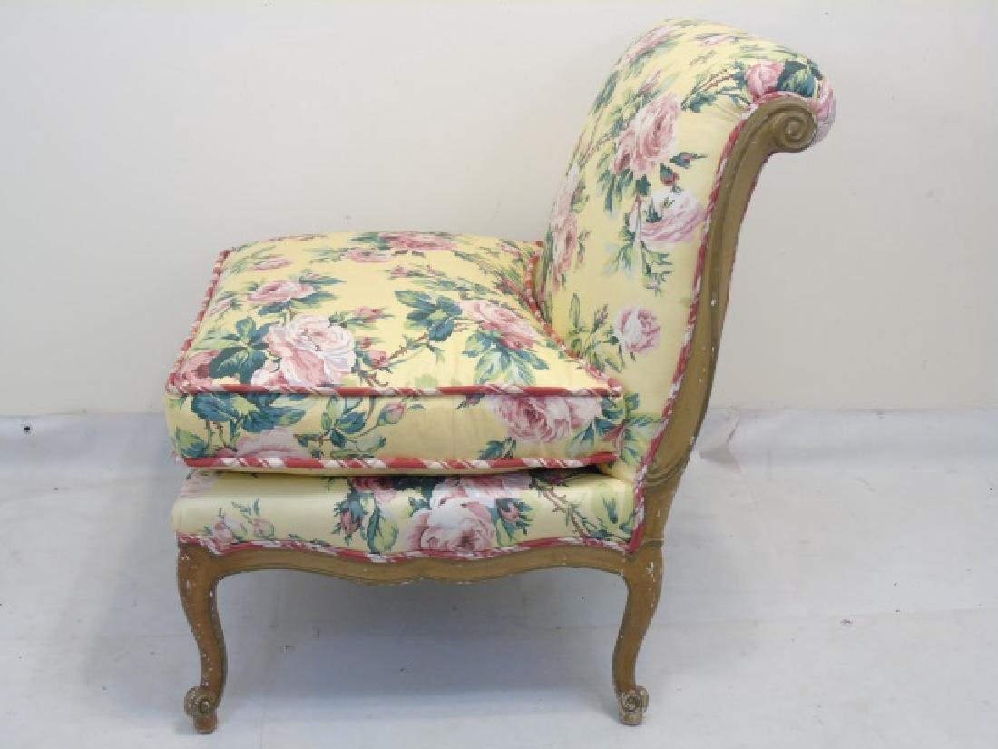 Contemporary Yellow Floral Chintz Boudoir Chair