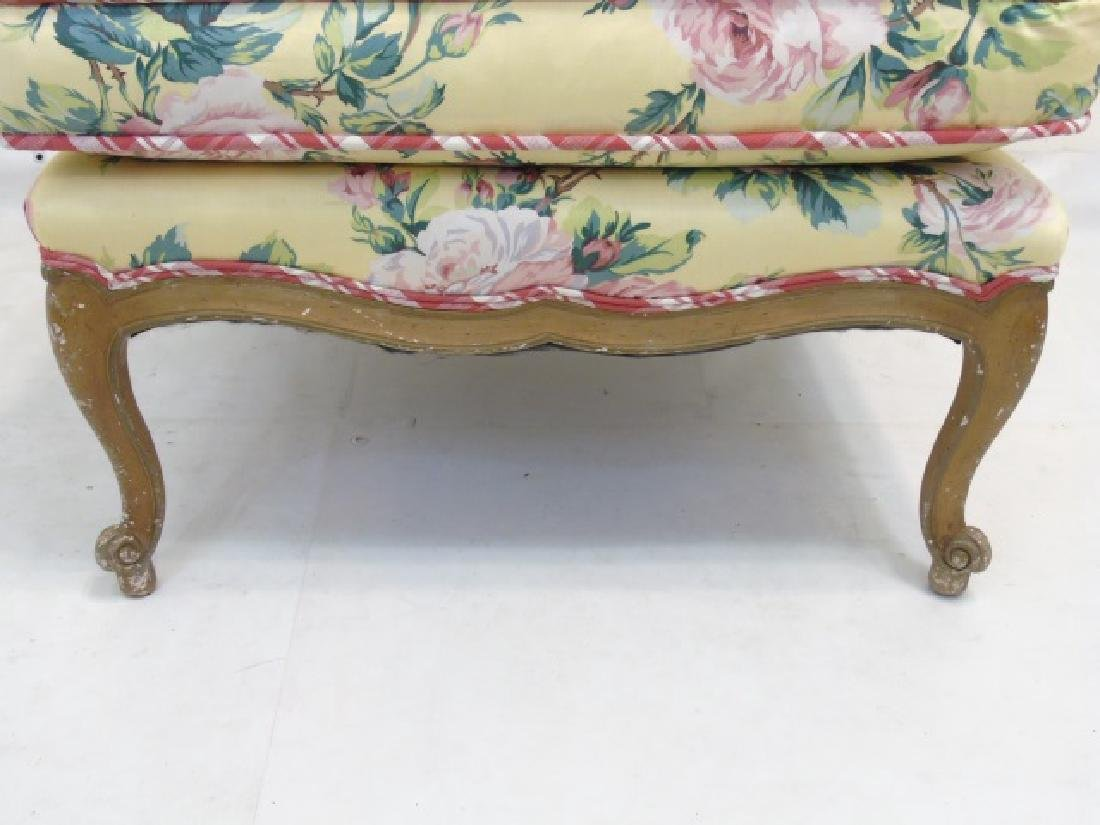 Contemporary Yellow Floral Chintz Boudoir Chair - 2