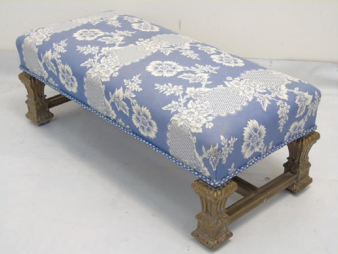 Designer Blue & White Upholstered Boudoir Bench