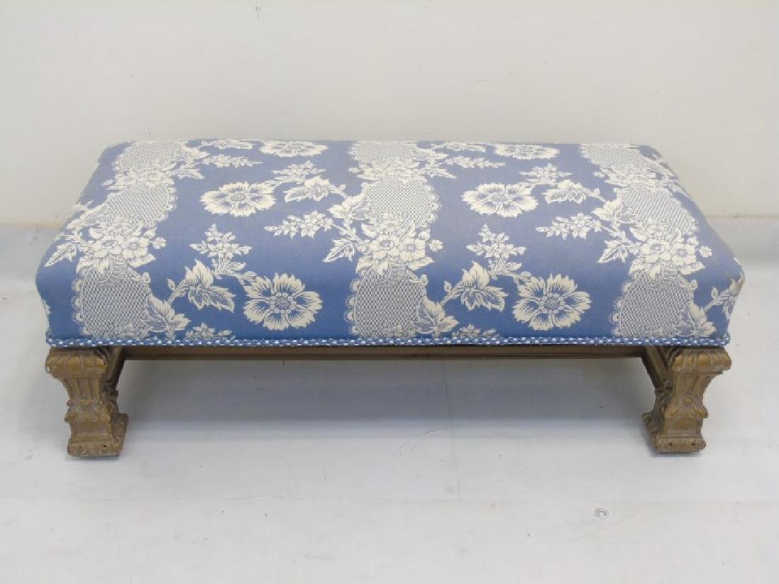 Designer Blue & White Upholstered Boudoir Bench - 2