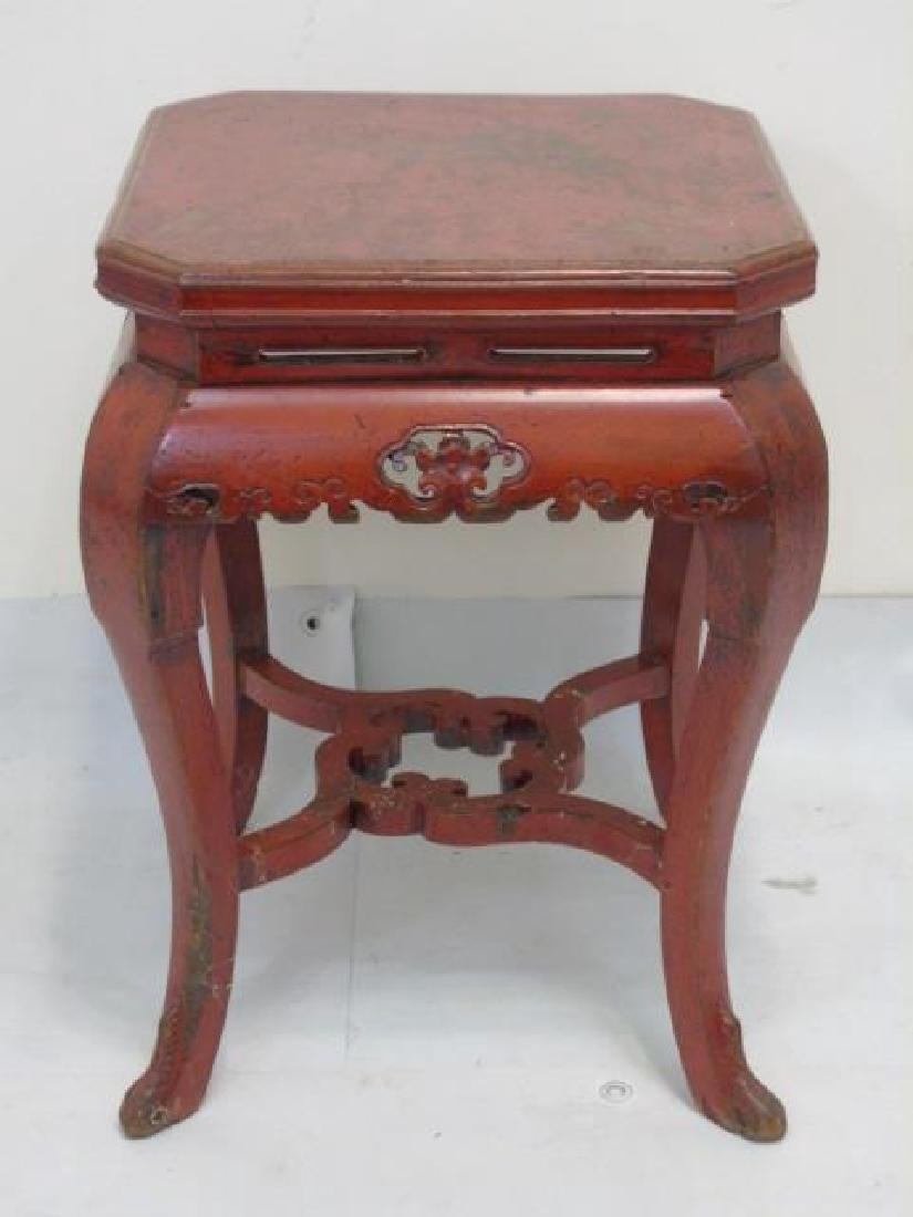 Pair Vintage Red Lacquer Garden Tables Well Carved
