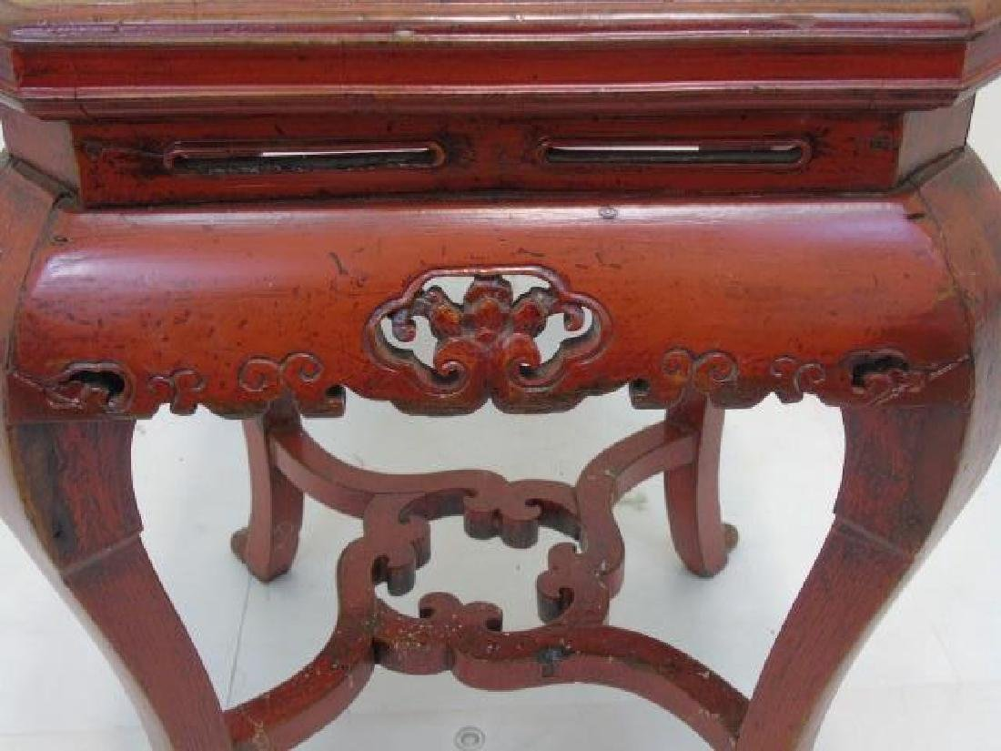 Pair Vintage Red Lacquer Garden Tables Well Carved - 2