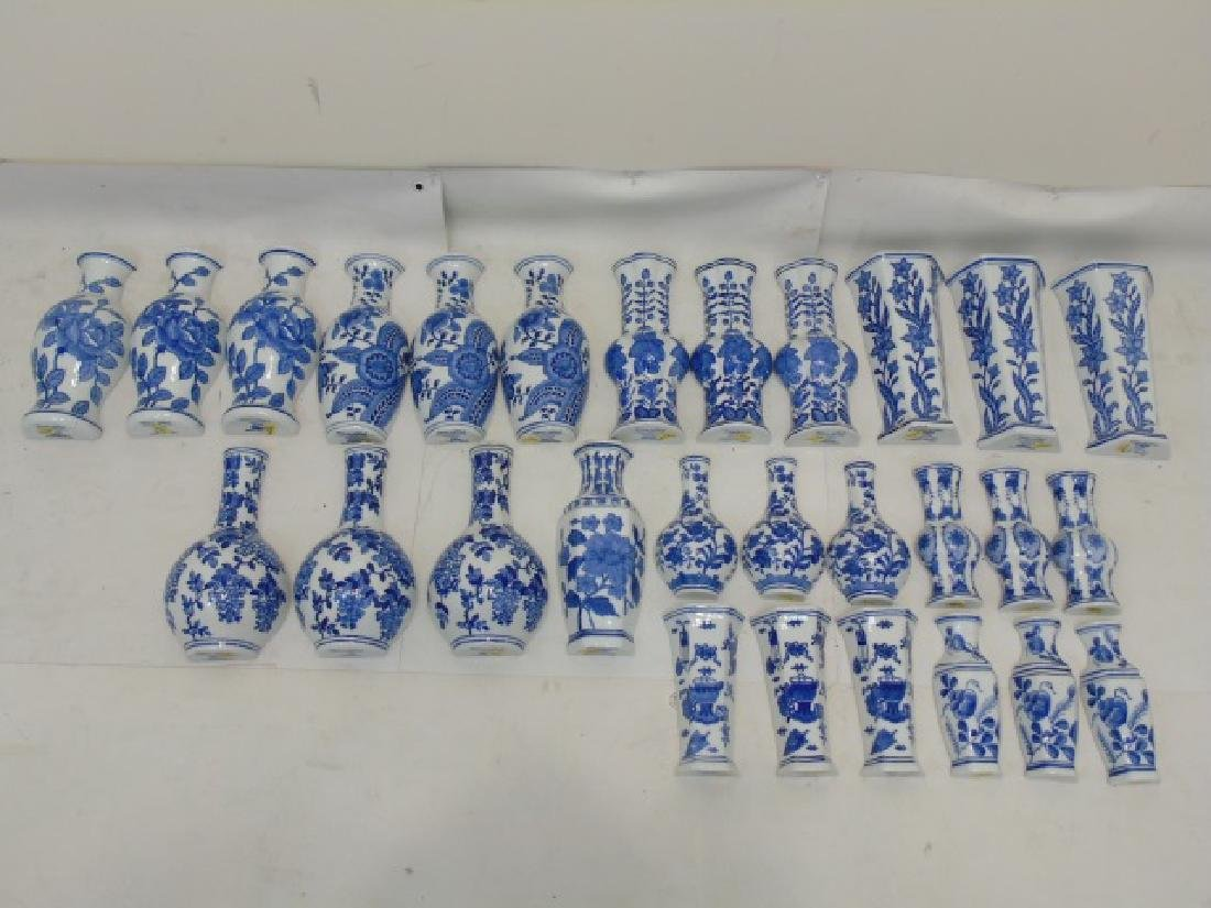 Large Group of Blue & White Porcelain Wall Pockets