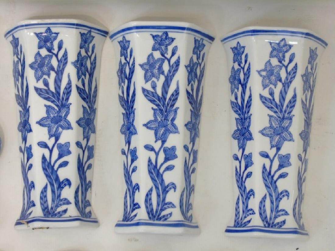 Large Group of Blue & White Porcelain Wall Pockets - 4
