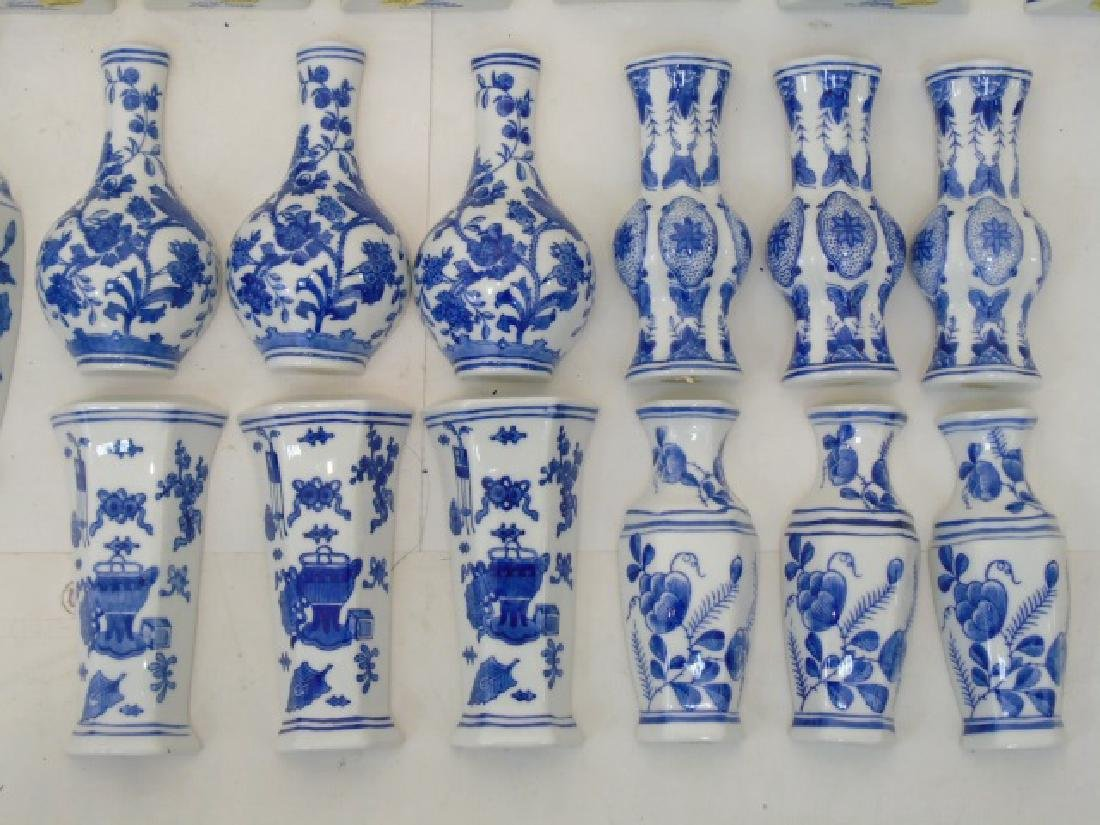 Large Group of Blue & White Porcelain Wall Pockets - 6