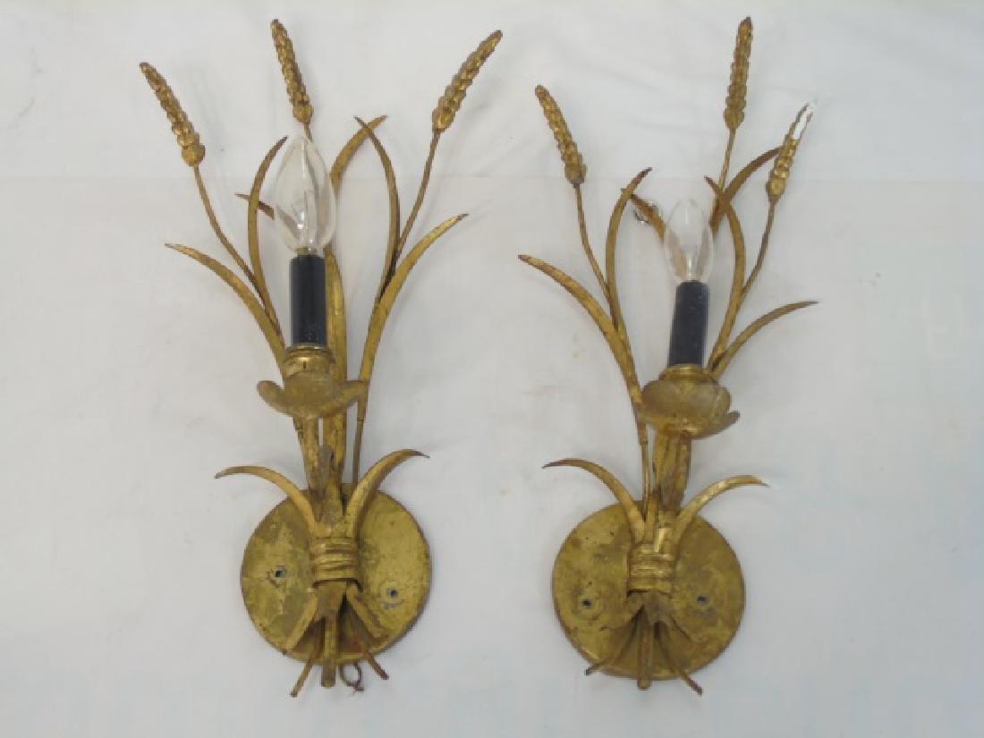 Pair Vintage 1 Arm Gilt Sconces w Wheat & Grass