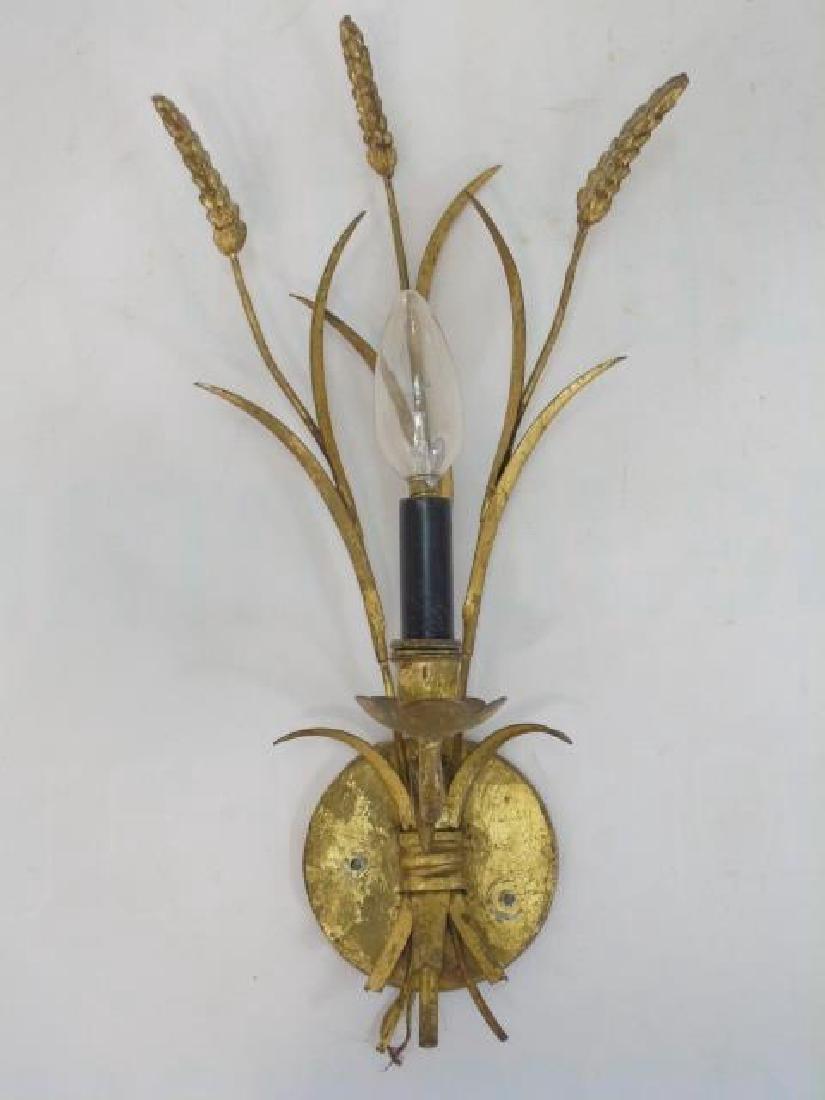 Pair Vintage 1 Arm Gilt Sconces w Wheat & Grass - 3