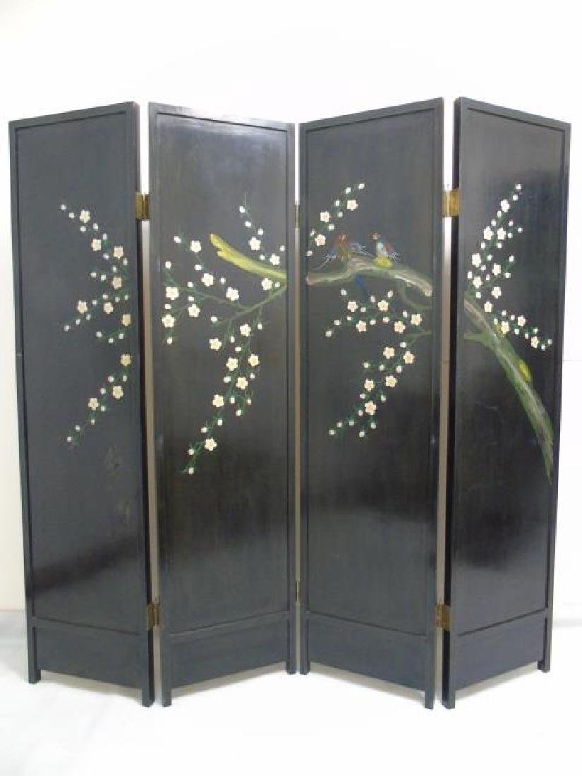 Large Vintage Chinese 4-Panel Screen Black Lacquer - 2