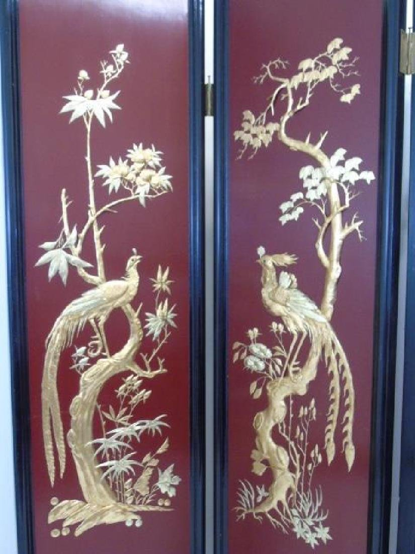 Large Vintage Chinese 4-Panel Screen Black Lacquer - 3