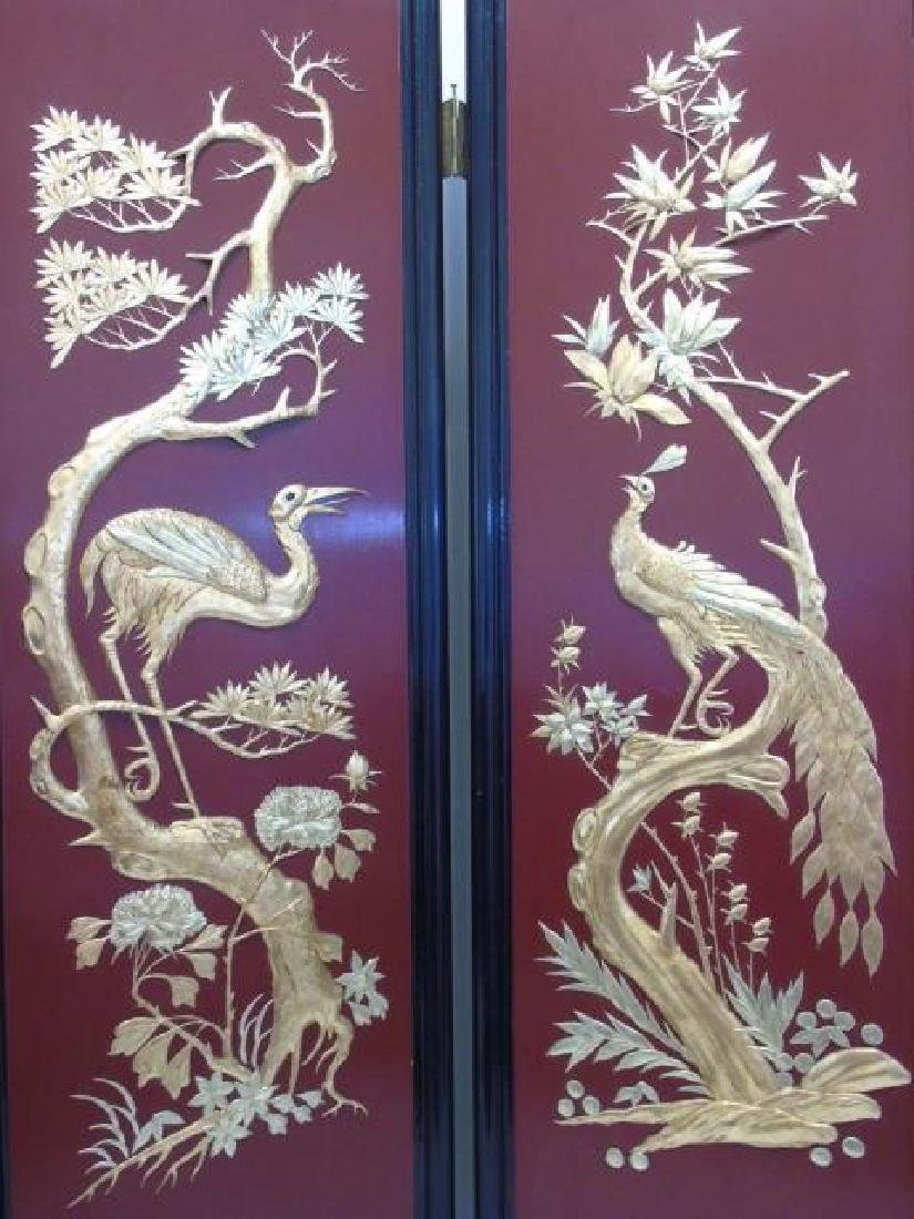 Large Vintage Chinese 4-Panel Screen Black Lacquer - 4