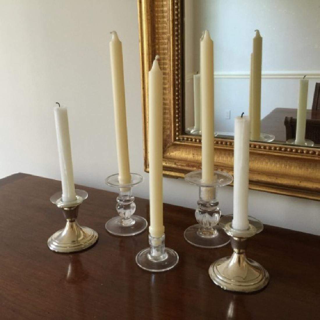Five Blown Glass & Silver Plate Candlesticks