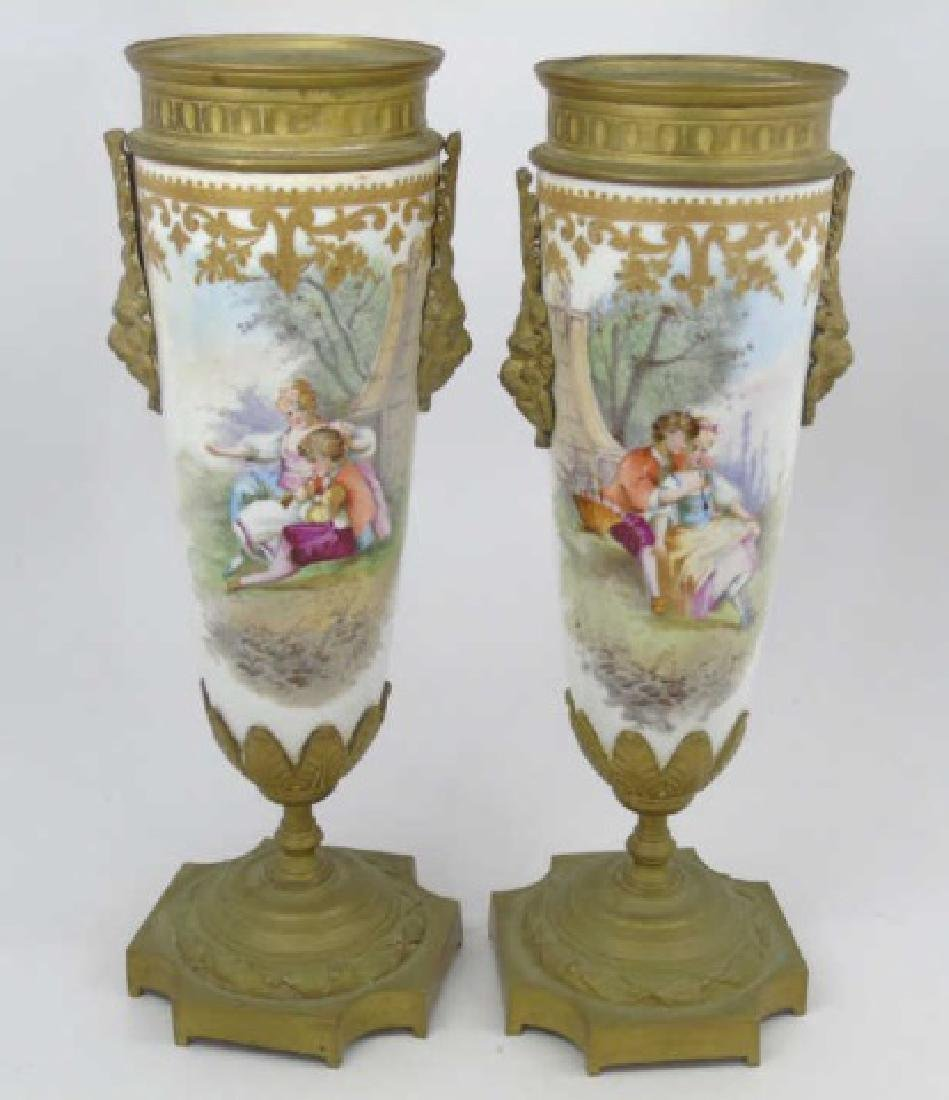 Pair Hand Painted Sevres Vases Bronze Signed Paci