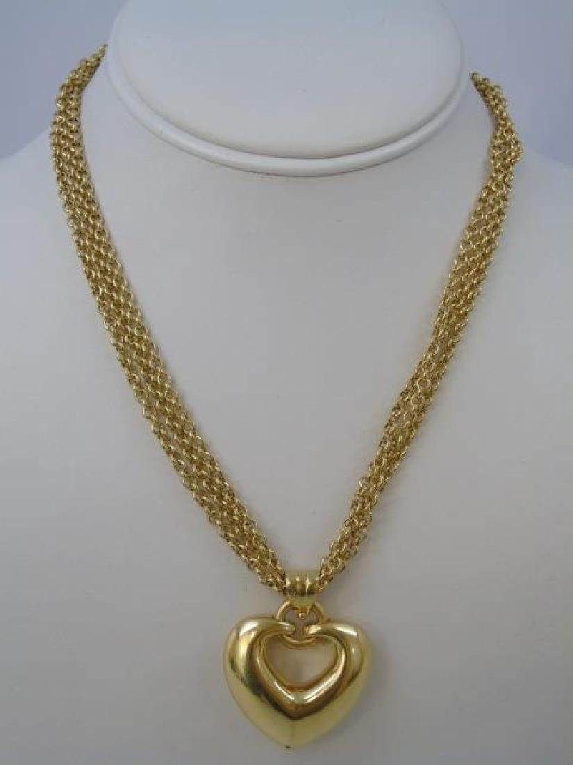 Estate 18kt Italian Yellow Gold Heart Necklace