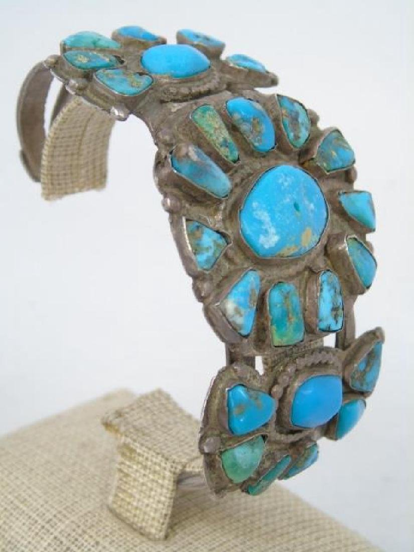 Antique Native American Pawn Turquoise Silver Cuff