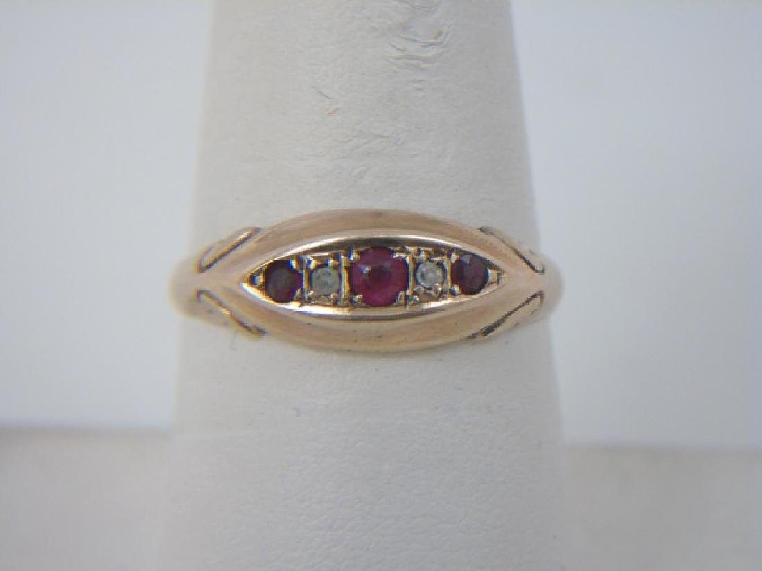 Antique Estate English Diamond & Ruby Gypsy Ring