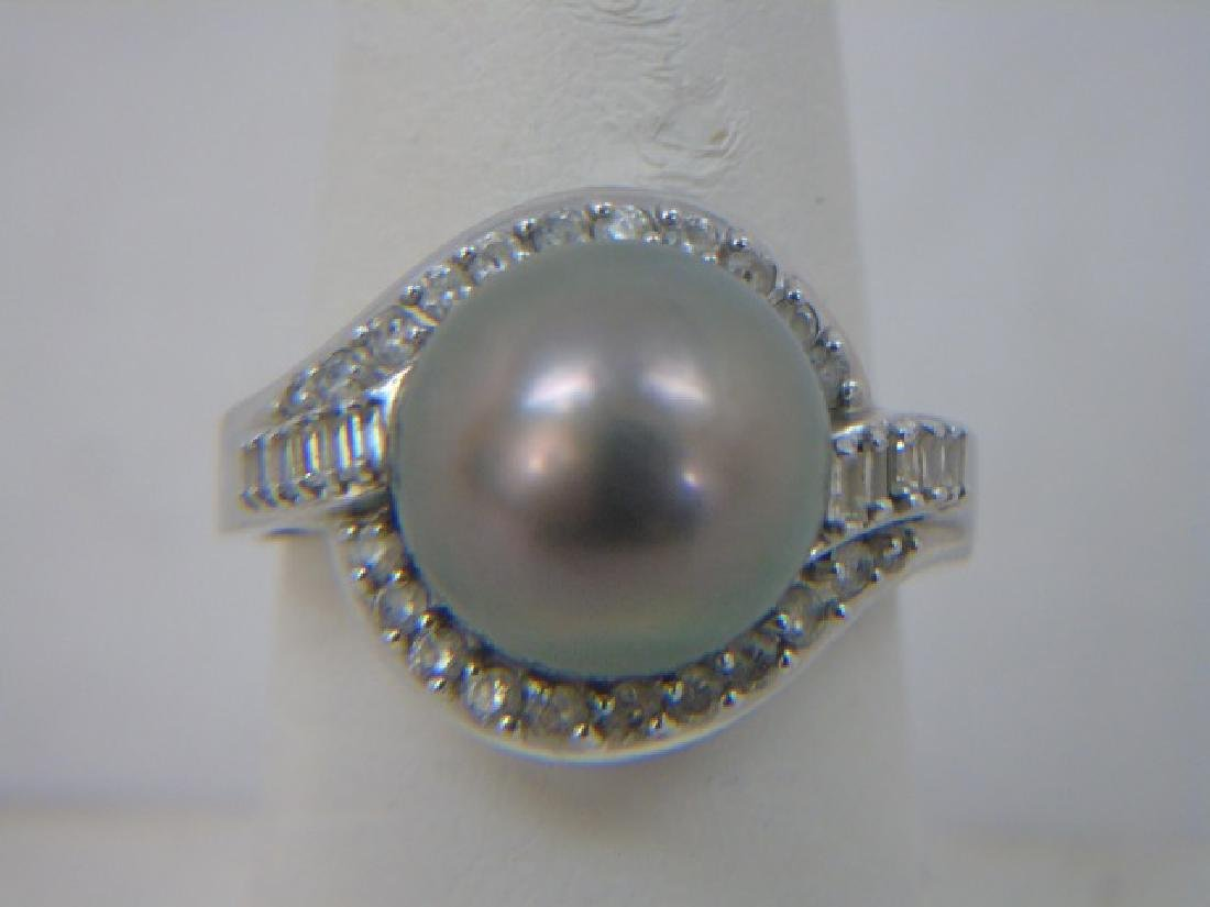 Estate 14kt Gold Tahitian Pearl Diamond Ring