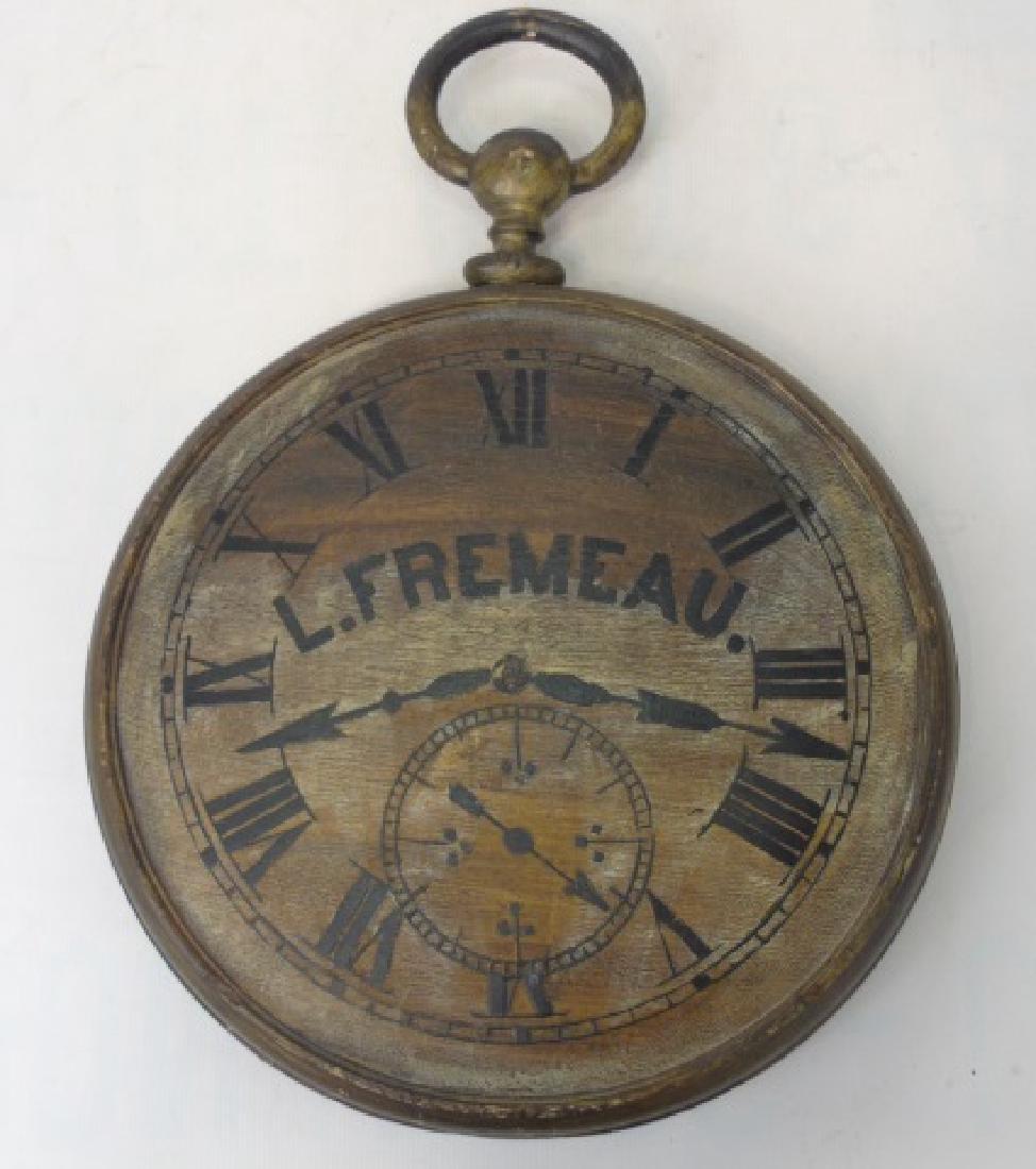 Carved Wood Advertising Sign Clock - L Fremeau