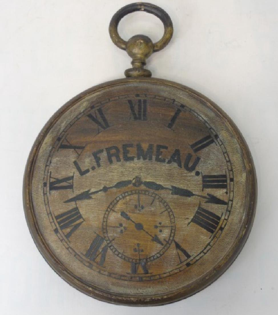 Carved Wood Advertising Sign Clock - L Fremeau