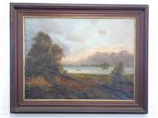 Large Framed Landscape Oil Painting