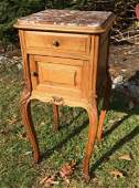 Antique French Rouge Marble Top Night Stand
