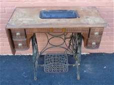 Antique American Cast Iron & Wood Sewing Machine