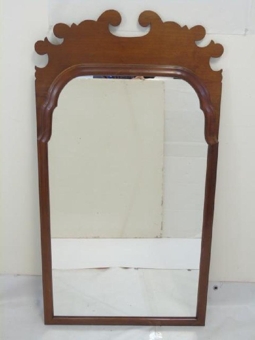 Mahogany Tone Carved Queen Anne Mirror