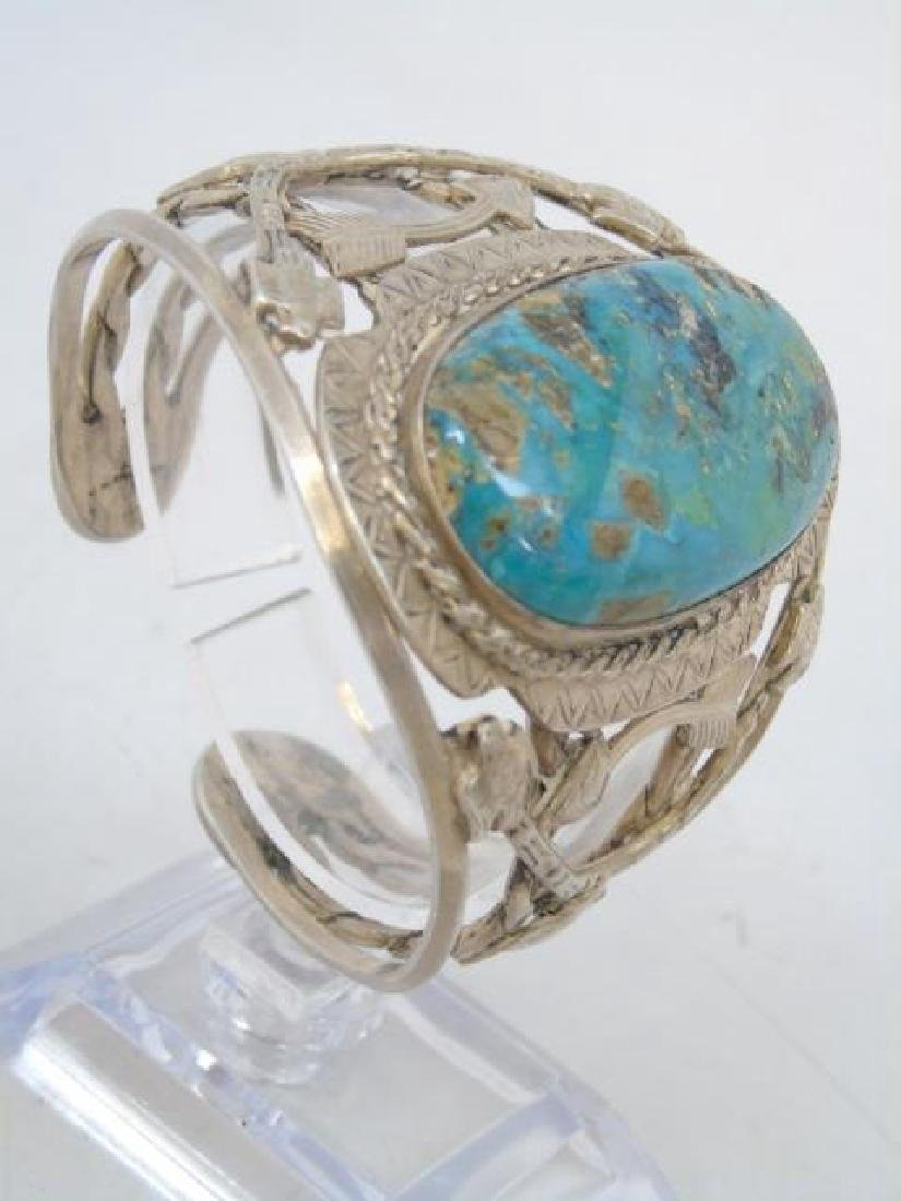 Vintage Sterling & Turquoise Native American Cuff