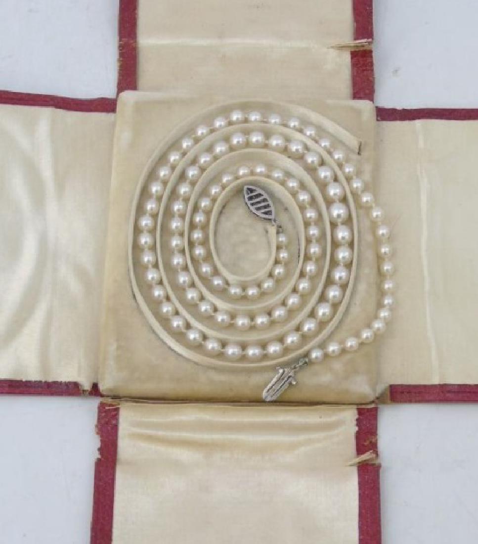 Estate Diamond Clasp Graduated Pearl Necklace