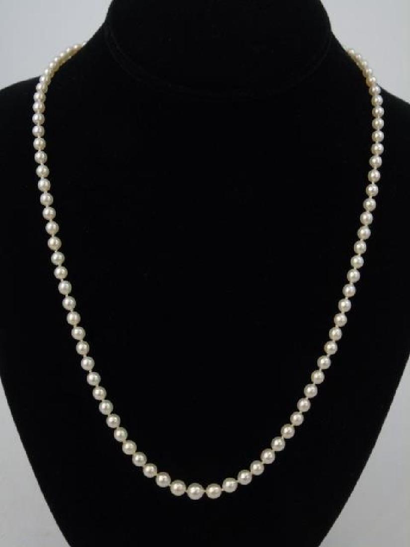 Estate Diamond Clasp Graduated Pearl Necklace - 3