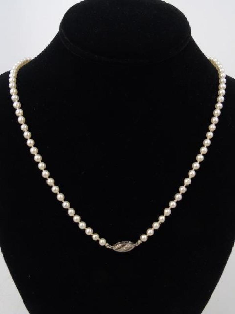 Estate Diamond Clasp Graduated Pearl Necklace - 5