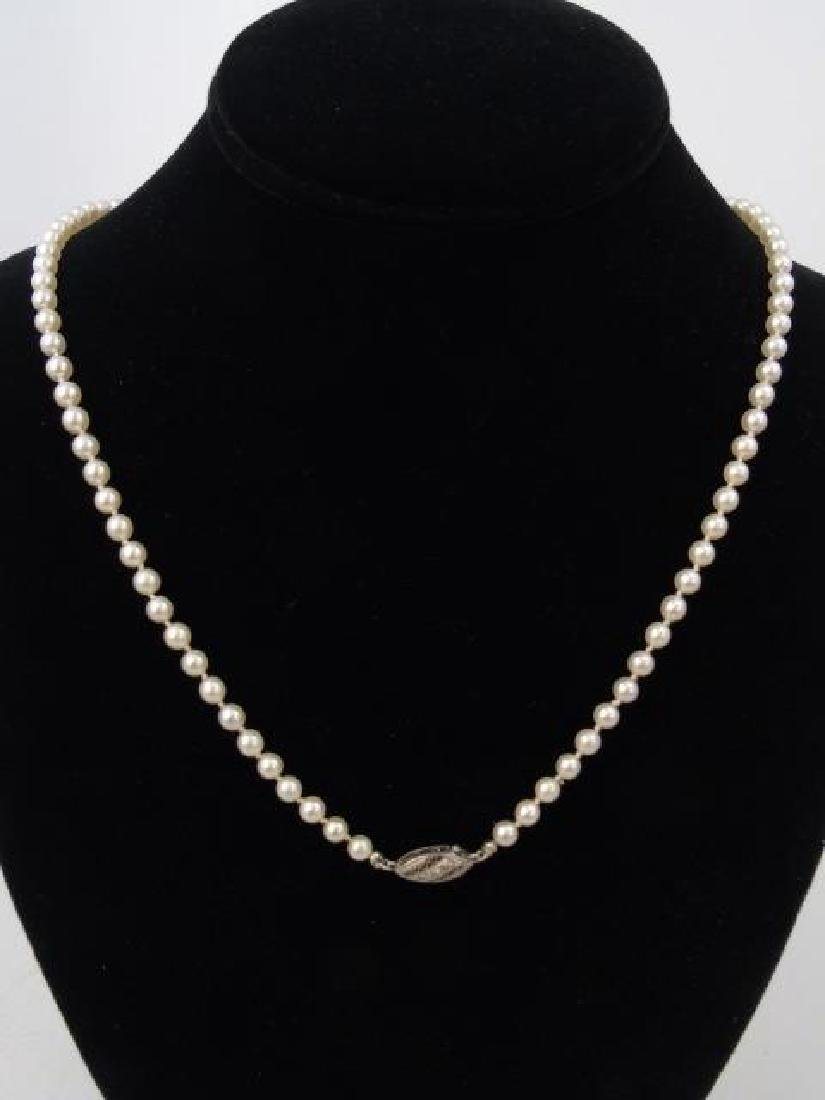 Estate Diamond Clasp Graduated Pearl Necklace - 5