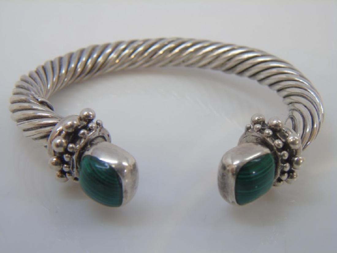 Artisan Sterling Silver Twist Malachite Bracelet