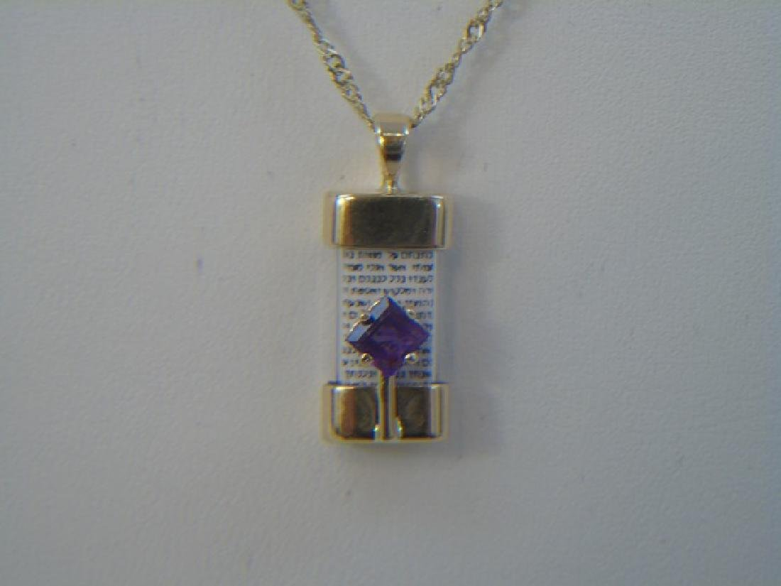 Judaica 14kt Yellow Gold & Amethyst Necklace
