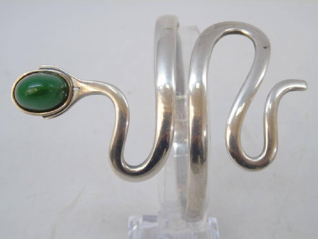 Signed Artisan Sterling Silver Snake Bracelet