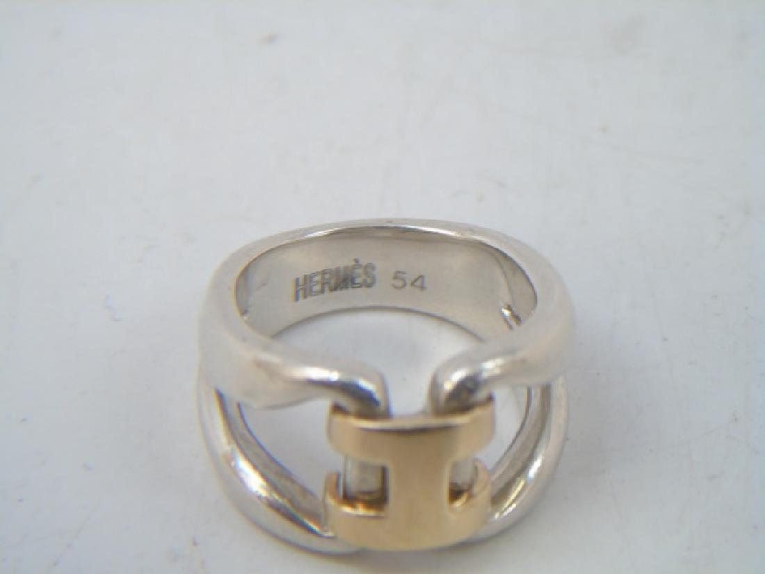 Estate Hermes 18kt Gold & Sterling H Design Ring - 2