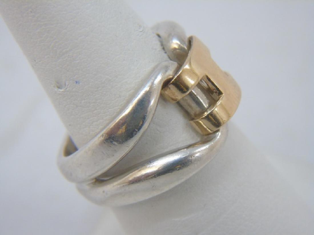 Estate Hermes 18kt Gold & Sterling H Design Ring - 3