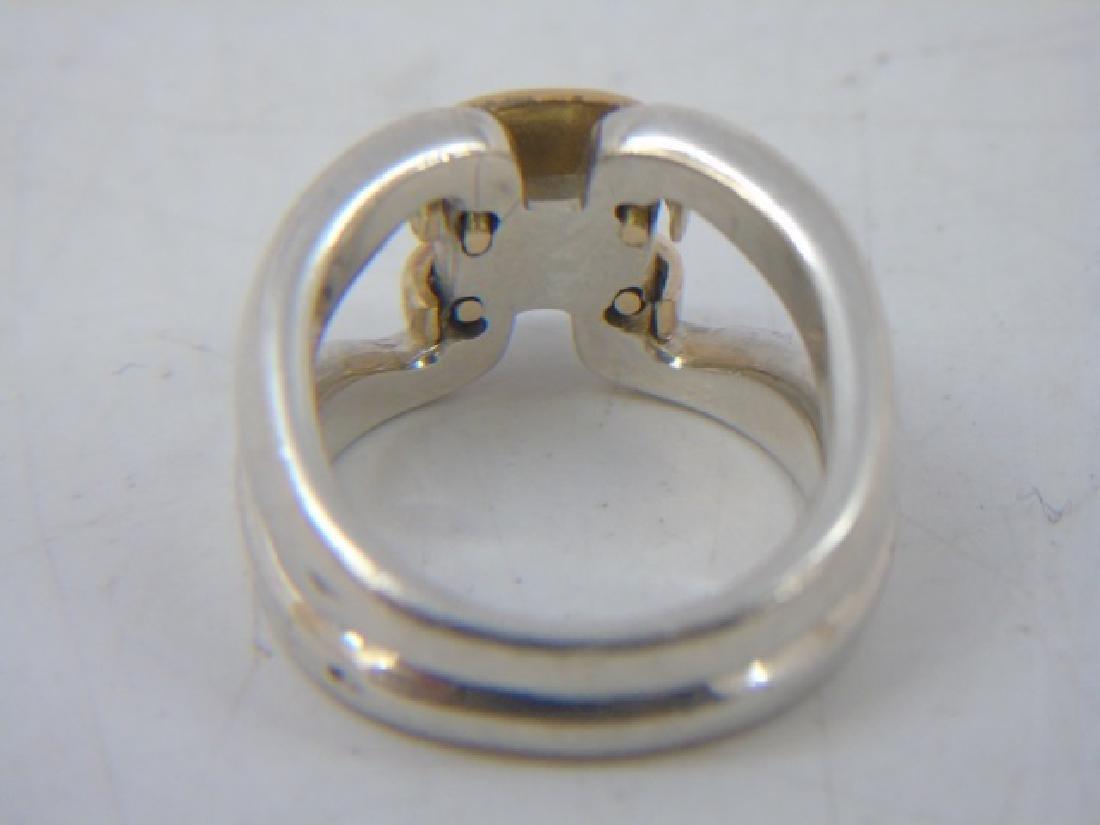 Estate Hermes 18kt Gold & Sterling H Design Ring - 4