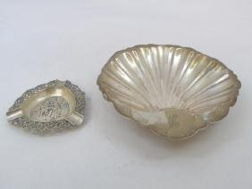 Sterling Shell Dish & Continental Silver Ashtray