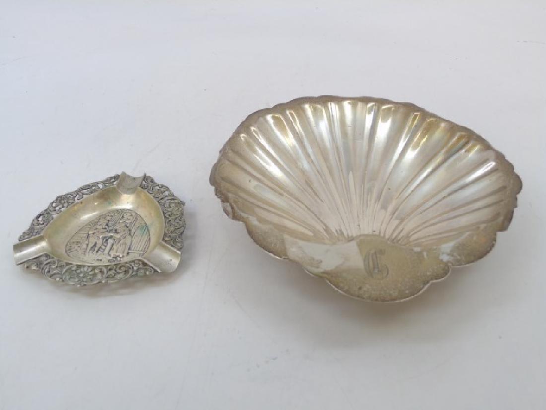 Sterling Shell Dish & Continental Silver Ashtray